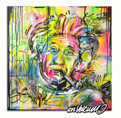 Bunte Graffiti Leinwand Motiv Albert Einstein mit pfeife drips