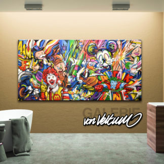 Bathroom, Comic-Popart-Collage, colorful-Medley, Cartoon-Graffiti-collaboration, Brown wood