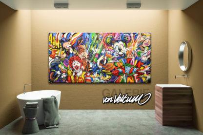 Bathroom, Comic-Popart-Collage, colorful-Medley, Cartoon-Graffiti-collaboration, Brown wood