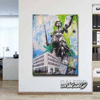 Graffiti-Popart-Leinwand in Büroetage, Justiz, Jura, Judikative